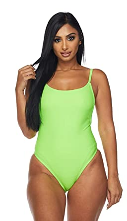e7843c810c697 SOHO GLAM Neon Green Plunging Back One Piece Swimsuit (XS-L) at ...