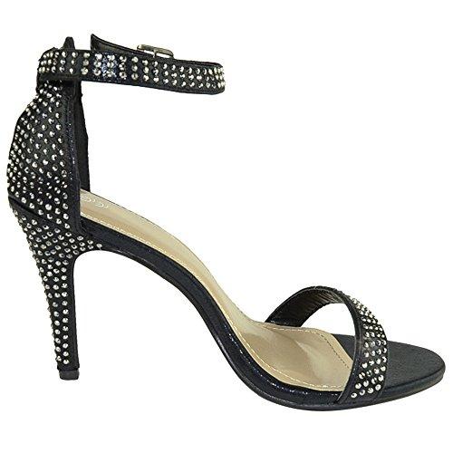 Dress Pumps Womens Black Accent Stiletto FL Strap By Black Rhinestone Sandals Single KSC qEvvwt