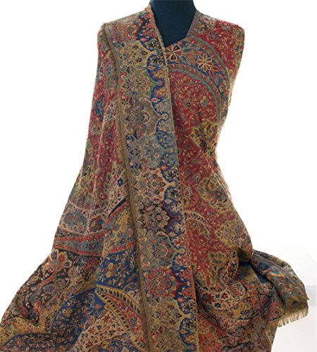Large, Superior Kani Shawl. Paisley Jamawar from India. Heavy & Very Detailed