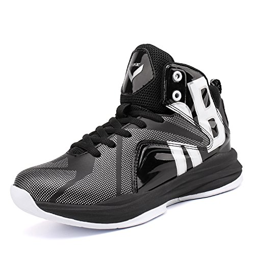 Boy's Basketball Shoes Lace Up High-Top Sneaker Outdoor Trainers For Unisex Kids Durable Sport Shoes (Little Kid/Big Kid) (7M US Big Kid, Armor Black)