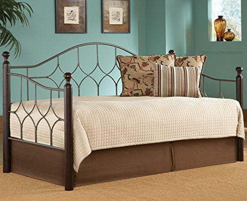 (Leggett & Platt Bianca Metal Daybed Frame with Arched Back Panel and Espresso Colored Wood Finial Posts, Hammered Pewter Finish, Twin)