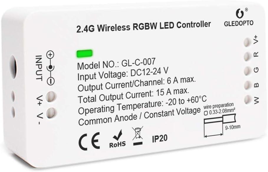 GLEDOPTO Smart Home ZigBee LED Strip Controller RGBW 1ID Dimmable Compatible with Hue Bridge SmartThings Amazon Echo Plus Smart Phone App/Voice Control for RGBW LED Strip Light (Require ZigBee Hub)
