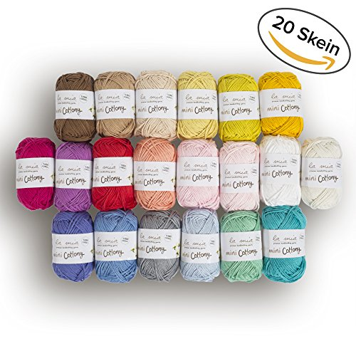 20 Skein %100 Cotton Mini Yarn, Total 17.6 Oz Each 0.88 Oz (25g) / 65 Yrds (60m), Light, Dk, Worsted Assorted Colors Yarn - Crochet Cotton Light