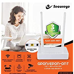 Secureye High Performance Dual Anetenna GPON/EPON-ONT 1GE + WiFi xPON Fibre Solution Router (Made in India)