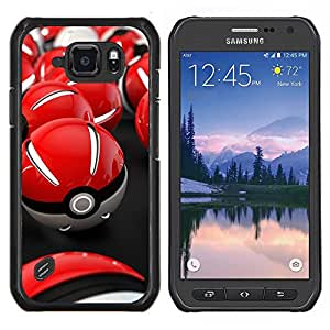 Caucho caso de Shell duro de la cubierta de accesorios de protección BY RAYDREAMMM - Samsung Galaxy S6Active Active G890A - Red Poké Balls