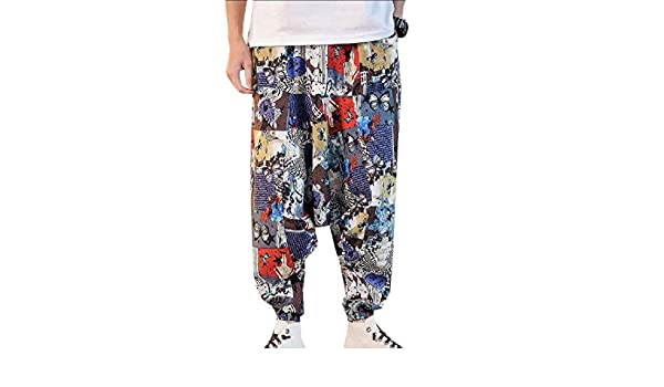 Wofupowga Mens Harem Trousers Loose Elastic Waist Hip Hop Pants