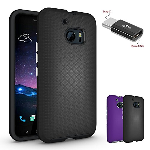 HTC 10 Case, HTC 10 2016 case, HTC One M10 case With Micro USB to Type c Adapter,Wtiaw [Shock Absorption Shockproof] Silicone Hard Rubber Heavy Duty Hybrid Phone Protective Cover for HTC M10-AS Black