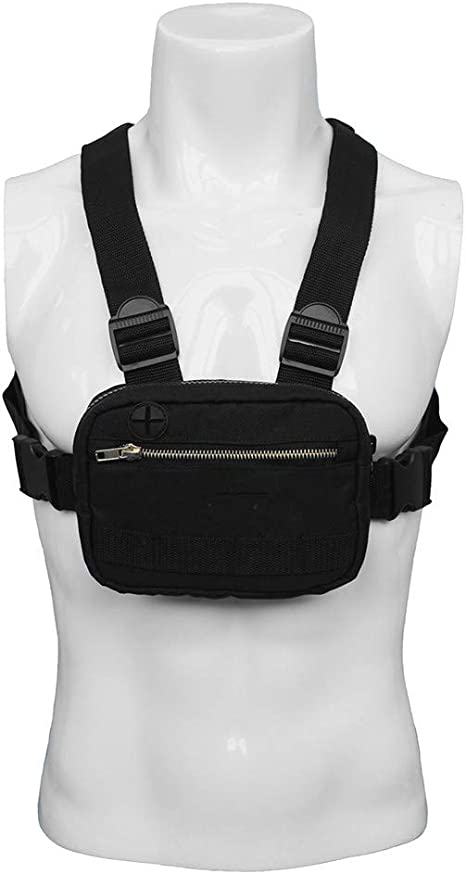 Tactical Vest Chest Bag for Men Reflective Strap Radio Harness Chest Front Pack