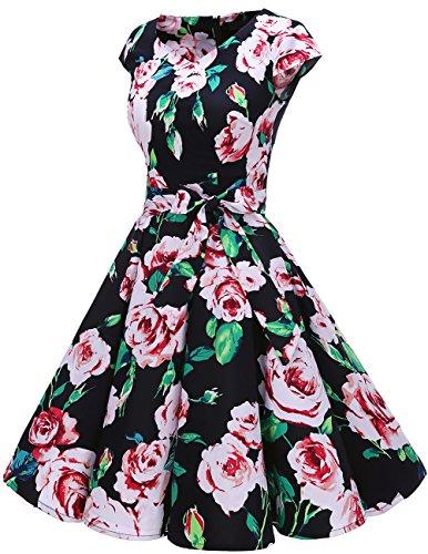 Dresstells 1950s Ink Corto Black Flower Vestido Retro Cortas Vintage Mangas reg;Mujer Con AZwHqrnpA