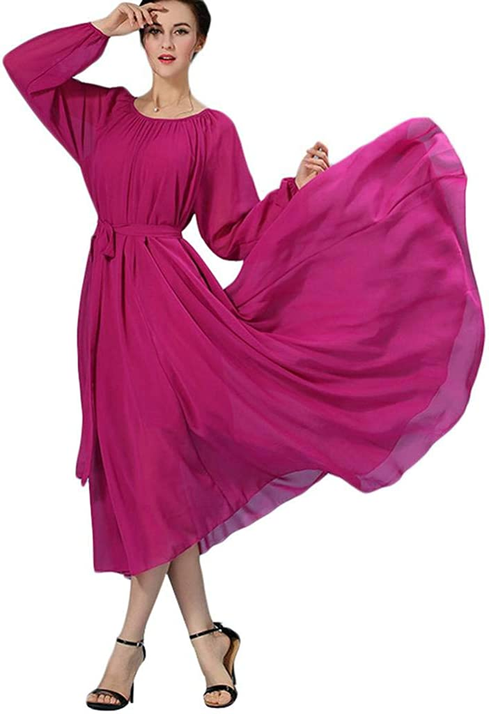 BUENOS NINOS Womens Long Sleeve Crew Neck Loose Chiffon Long Maxi Dress with Belt