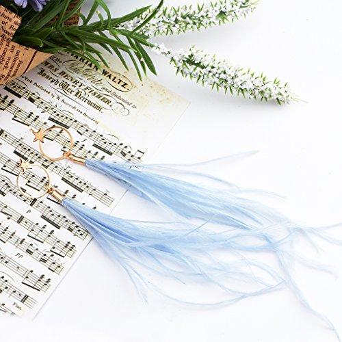 Fashion Boho Elegant Thread Dangle Earrings Star&Round Embellishment Handmade Feather Jewelry Blue by Edress Jewellery (Image #1)
