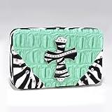 Croco Textured Wallet w/ Zebra Trim and Rhinestone Cross – Green, Bags Central