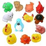 KISMIS Bath Toys Non-Toxic Animal Shape Soft Toys for Baby Kids Bath Toys Chu Chu 15 Piece Set, Multi Color (12 PC SET)