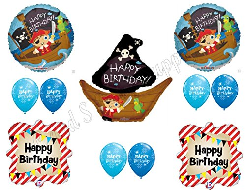 (PIRATE SHIP Birthday Balloons Decoration Supplies Party Skull Crossbones Boy)