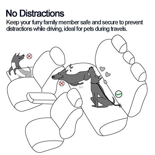 Myfunpets Dog Seat Belt Adjustable 3 Packs Pet Car Seat Belt Safety Leads Vehicle Seatbelt Harness Made from Nylon Denim Fabric