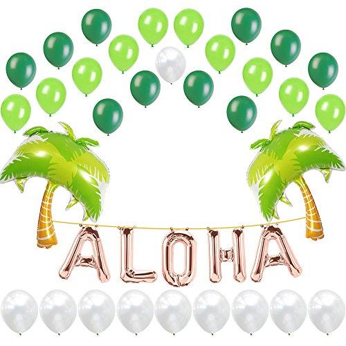 Rose Gold Aloha Foil Balloons, Palm Tree, White Green Latex Balloons, 37 Count, Hawaiian Theme Party ()