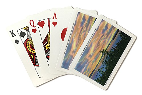 Lake Champlain, New York - Sunset over the Lake, Adirondack Mts in Distance (Playing Card Deck - 52 Card Poker Size with Jokers) by Lantern Press