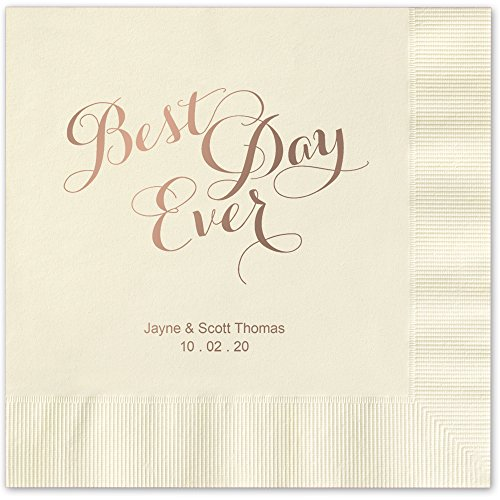 Best Day Ever Personalized Beverage Cocktail Napkins - Canopy Street - 100 Custom Printed Ivory Ecru Paper Napkins with choice of foil stamp