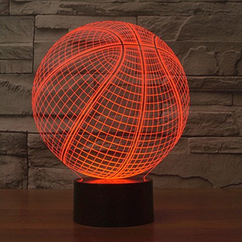 Amazing 7 Colors Optical Illusion 3D Baseball Lamps,Glow Lighting Nightlight Room Decor Table Lamps (Basketball) for $<!--$14.99-->