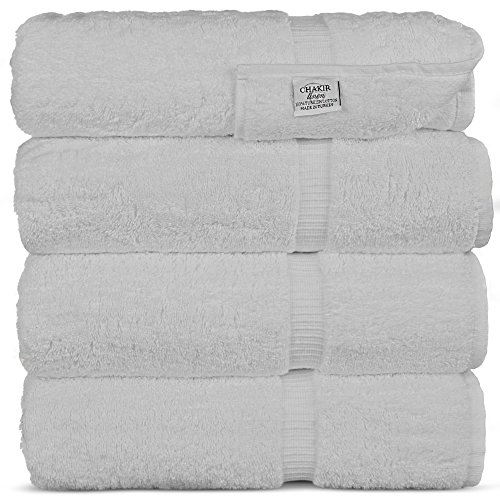 Chakir Turkish Linens Turkish Cotton Luxury Hotel & Spa Bath Towel, Bath Towel - Set of 4, White