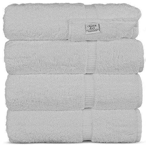 - Chakir Turkish Linens Turkish Cotton Luxury Hotel & Spa Bath Towel, Bath Towel - Set of 4, White