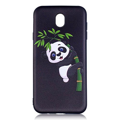 Funda Galaxy J730 versión europea,SainCat Moda Alta Calidad suave de Relieve Pintura TPU Silicona Suave Funda Carcasa Samsung Galaxy J730 versión europea TPU Silicona Flexible Candy Colors Ultra Delga Panda bambú