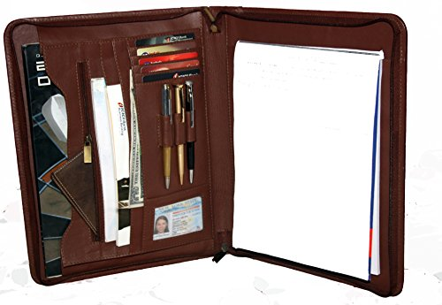 Vill Okse RFID Blocking Premium Genuine Leather Hand Made Business Portfolio, Notepad and Document Holder and Professional Organizer with Zip Closing
