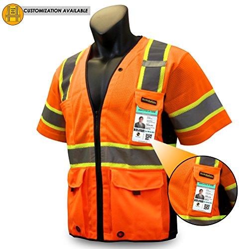 KwikSafety CHIEF | Class 3 iPocket Safety Vest | 360° High Visibility Reflective ANSI Compliant Work Wear | Hi Vis Mesh Heavy Duty Zipper | Men & Women Regular to Oversized Fit | Orange L/XL