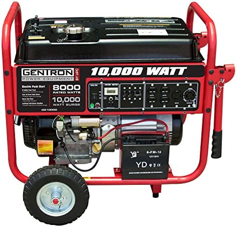 Gentron GG10020C 10000 Watt Gas Portable Generator with Electric Push Start for Home Emergency Power Backup RV Standby, Hurricane Storm Damage Restoration, CARB Compliant