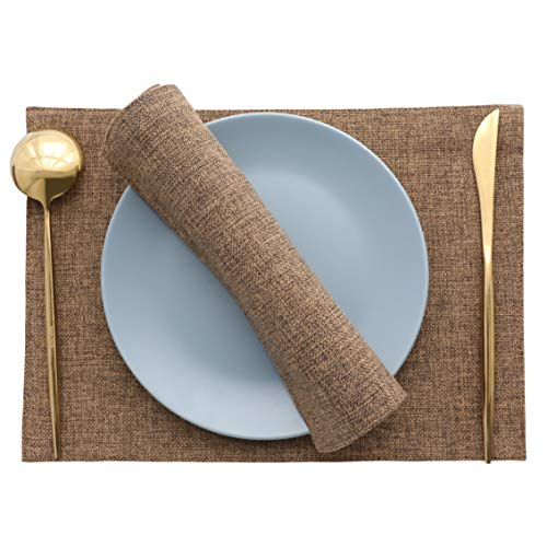 - HOME BRILLIANT Set of 4 Placemats Heat Resistant Dining Table Place Mats Kitchen Table Mats, Brown