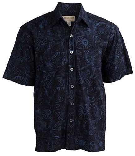 Indo Bay Tropical Hawaiian Cotton Batik Shirt (4XL, Navy) - Exclusive Clothes