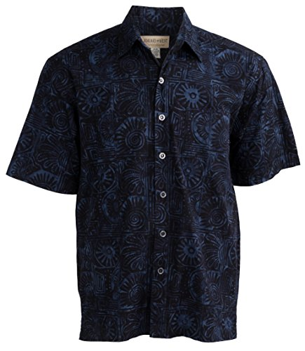 Johari West Indo Bay Tropical Hawaiian Cotton Batik Shirt (M, - Shirt Old Navy Blue