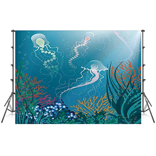 Aquarium Stylish Backdrop,Artistic Jellyfishes Swimming Under The Sea Coral Reef Plants Oceanic Fauna for Photography Festival Decoration,86''W x 59''H ()