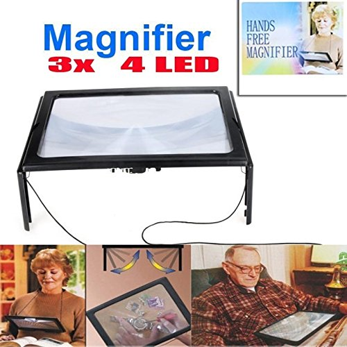 Ultrathin A4 Full Page Large PVC Magnifier 3X Foldable Ma...
