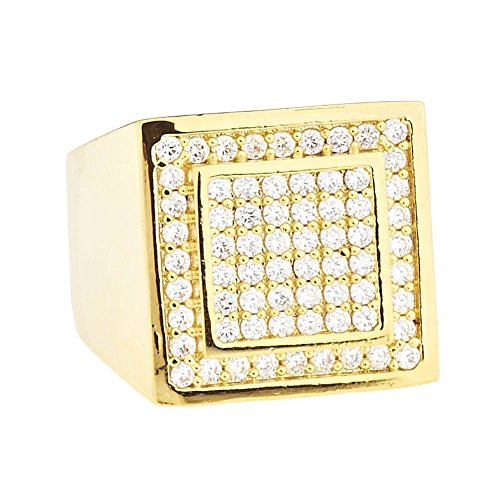 Iced Out Bling Micro Pave Designer Ring - Dome 15mm Gold - 10