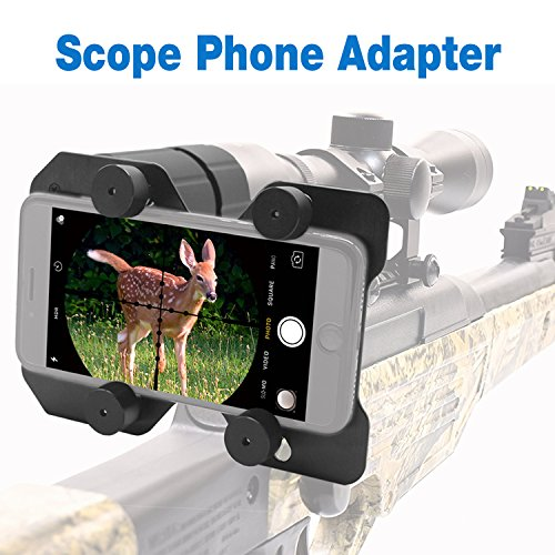 Faittoo Hunting Scope Cam Adapter Rifle Scope Phone Camera Mounting System Smart Shoot Scope Mount Adapter Spotting Holder for Air Gun Scope - Record Hunt Via Cell Phone (Aluminium Alloy)