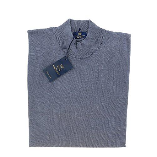 Real Cashmere Mock Neck Big Mens Indigo Sweater (Detailed Mock Neck Sweater)