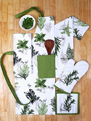 Gardens Designs Herb (Set of Apron, Oven Mitt, Pot Holder, Pair of Kitchen Towels in a Unique Herb Garden Design, Made of 100% Cotton, Eco-Friendly & Safe, Value Pack and Ideal Gift Set, Kitchen Linen Set By CASA DECORS)