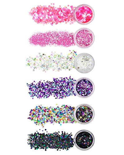 iHeartRaves Lunautics Hollywood Superstar Stax Chunky Glitter for Festivals (6 Pack)