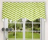 Ellis Curtain Reston Chevron Stripe Lined Scallop Valance, 50″ x 17″, Lime Review