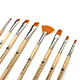 AIT Art Paint Brushes, Set of 8 Includes Angle Shaders, Filberts, and a Fan, Handmade in USA to Last Longer Without Shedding or Breaking, Allowing Painting with Brushes That Artists Trust to Perform