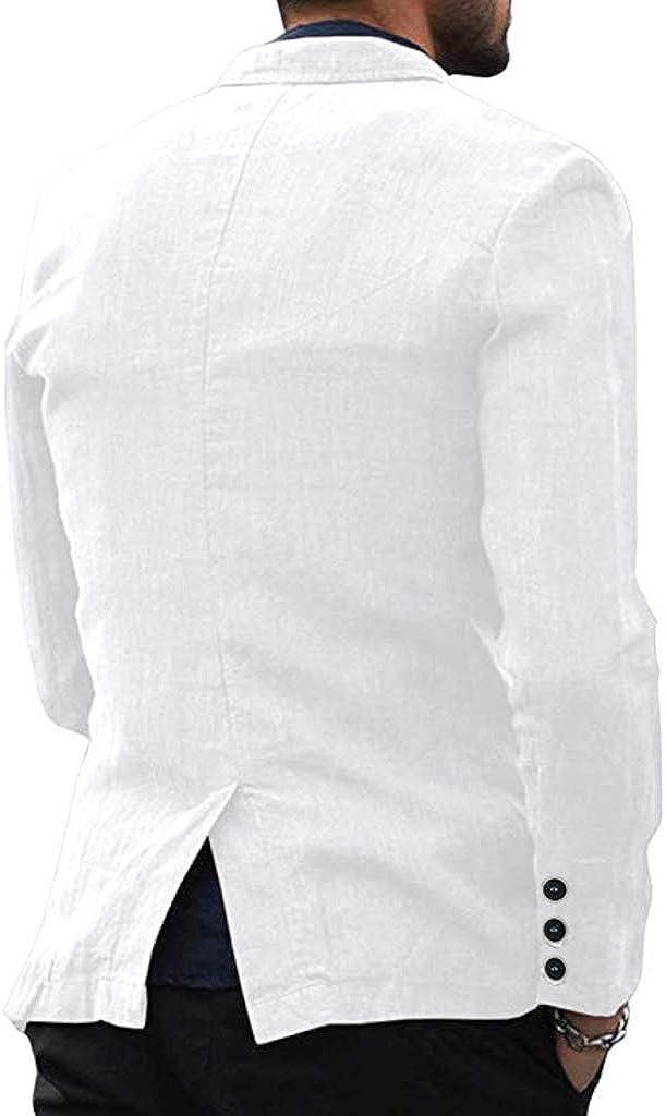 Frecoccialo Giacca da Uomo Casual in Lino con Bottoni Sezione Sottile Vestito con Tasche