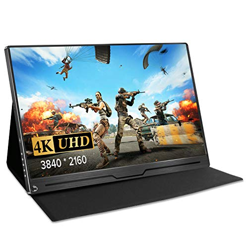 "UPERFECT 4K Computer Monitor 15.6"" Gaming Display Portable USB C Monitors 3840 x 2160 UHD with Stand Smart Case Eye Care Screen IPS Speakers OTG VESA HDMI Type-C Mini DP PD Xbox Rpi Drone Win PC Mac"