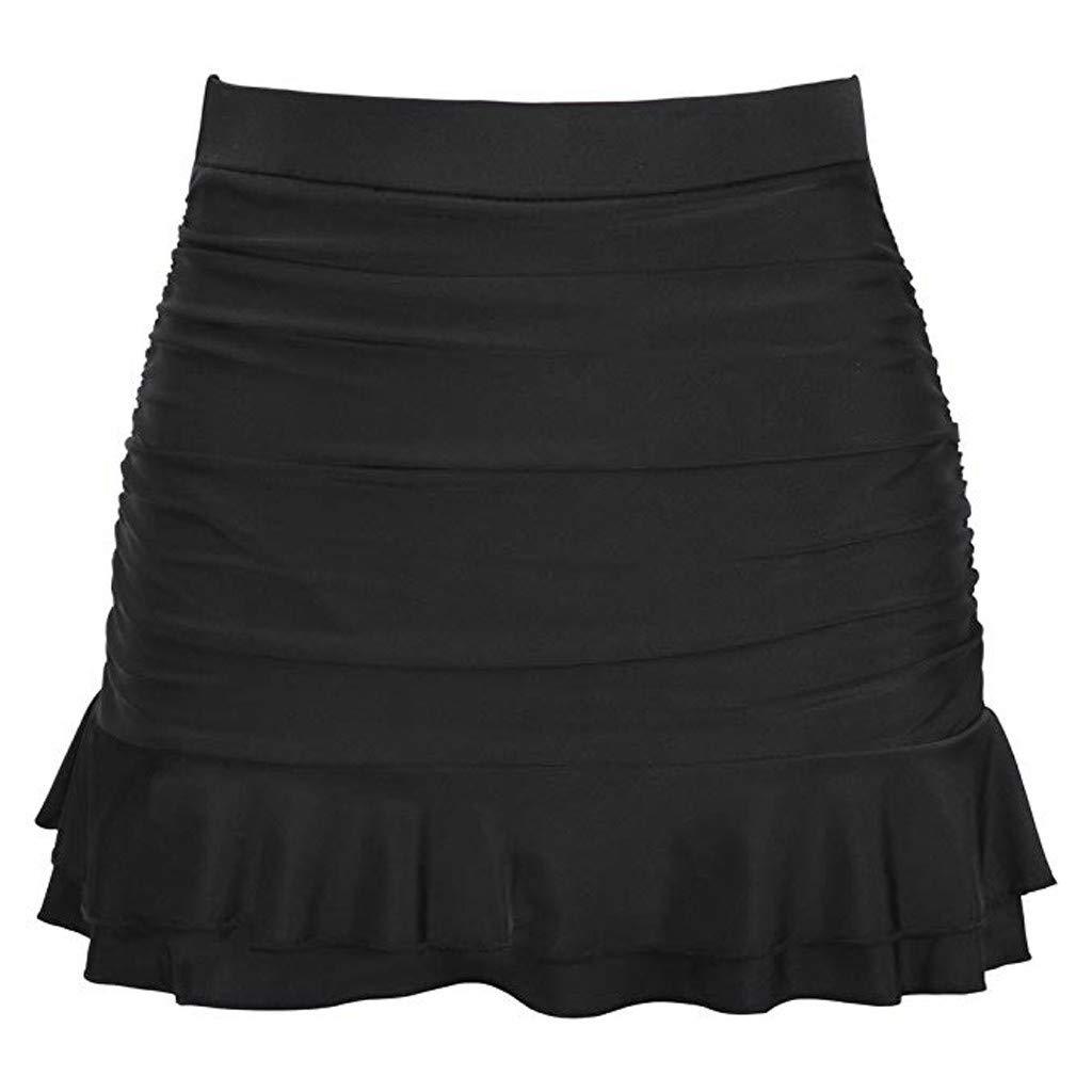 Emubody Women Skirted Bikini Bottom High Waisted Shirred Bottom Ruffles Swimwear