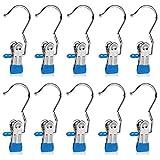 Set of 10 Closet Hanger Laundry Hooks Boot Clips Home Office Travel Portable, Blue