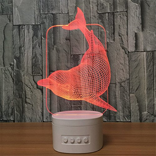 Price comparison product image Multifunction night light, 3D Nightlight with Bluetooth Speaker,  5 Colors Change, Support TF Card, Personalized Decorations and Best Gifts for Kids and Friends. (Dolphin)
