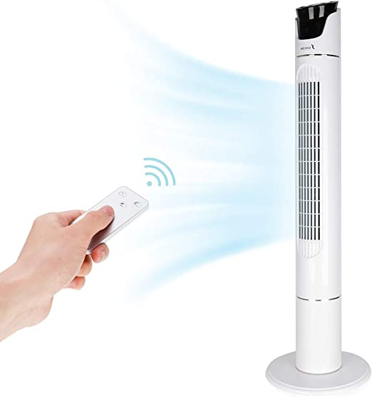 3 Stufen LED-Display 3 Modi Fan Tower-Ventilator Fernbedienung Luftk/ühler 12h Timer Turmventilator S/äulenventilator Standventilator