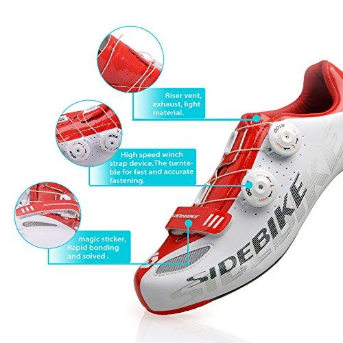 Meine Herren und Damen-Straßen rennschuh Comp Rennrad Schuhe Größe 45, Fuß länge 290mm, Vorfuß Breite 93.48mm-weiß und rot