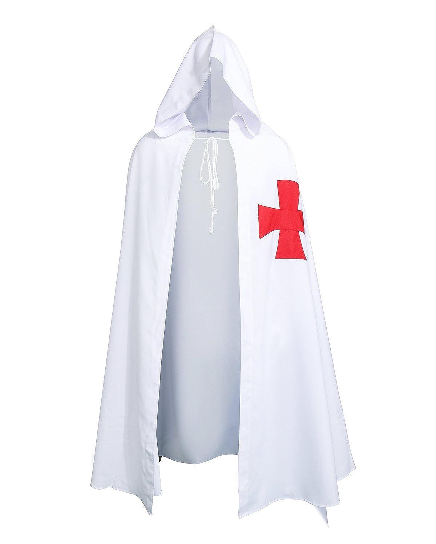 Kkk Halloween Costume Amazon.Zjyst Adult Medieval Templar Knights Hooded Robe Cloak Fancy Halloween Costume Cape