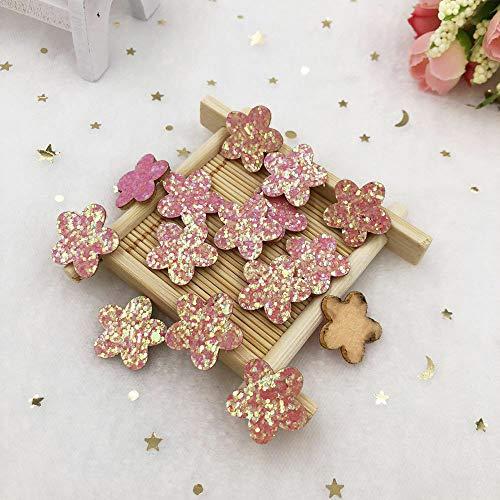 - MOPOLIS New 60pcs 20mm Felt Fabric Glitter Paillette flower Applique wedding DIY Patches | Color - Pink